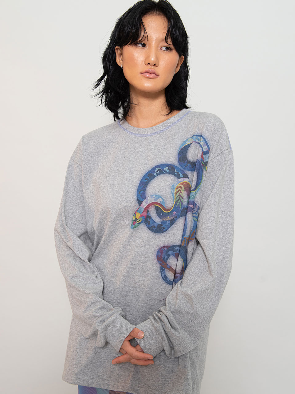 X Heeyajenny Grey Surf T shirt